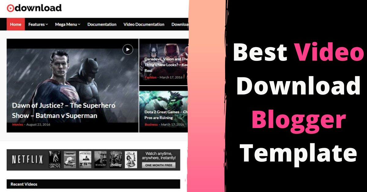 Best Video Download Blogger Template