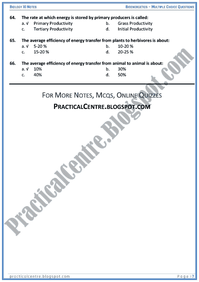 Bioenergetics - Multiple Choice Questions (MCQs) - Biology XI