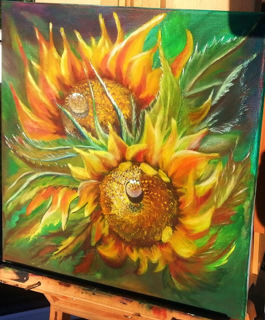 słoneczniki olejnymi na płótnie
