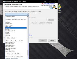 Step kedua pilih kali linux karena akan membuat bootable kali linux