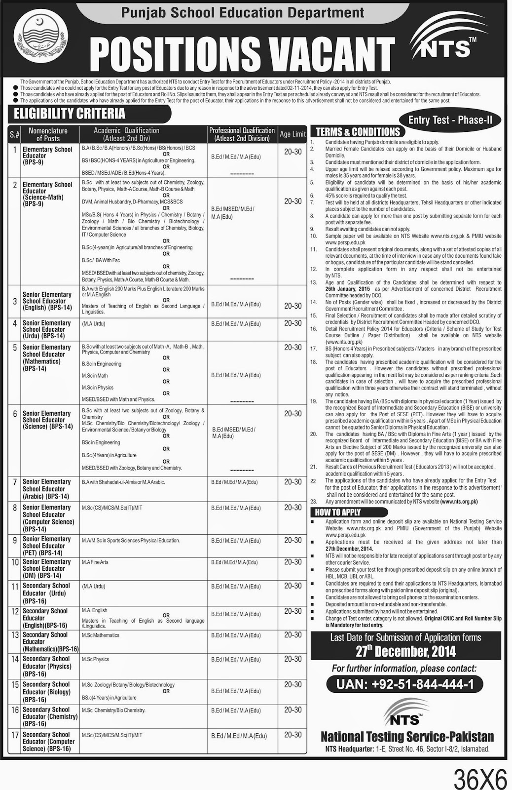 Educator Jobs by NTS PHASE-II | Mcqs Test Preparation