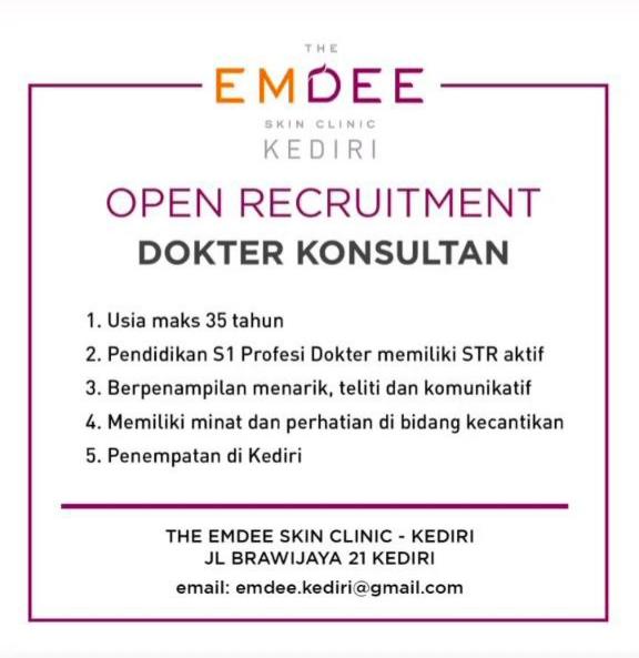 Loker Dokter The EMDEE Skin Clinic Kediri
