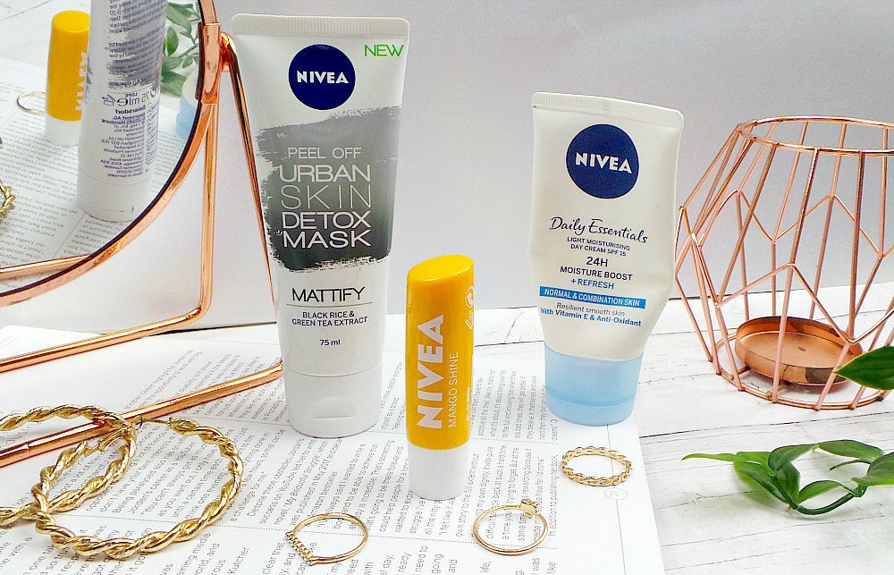 Image shows 3 tubes. L-R Mattifying face mask, mango lip balm and daily moisturiser.