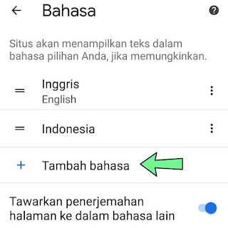 Cara mengubah bahasa Chrome android