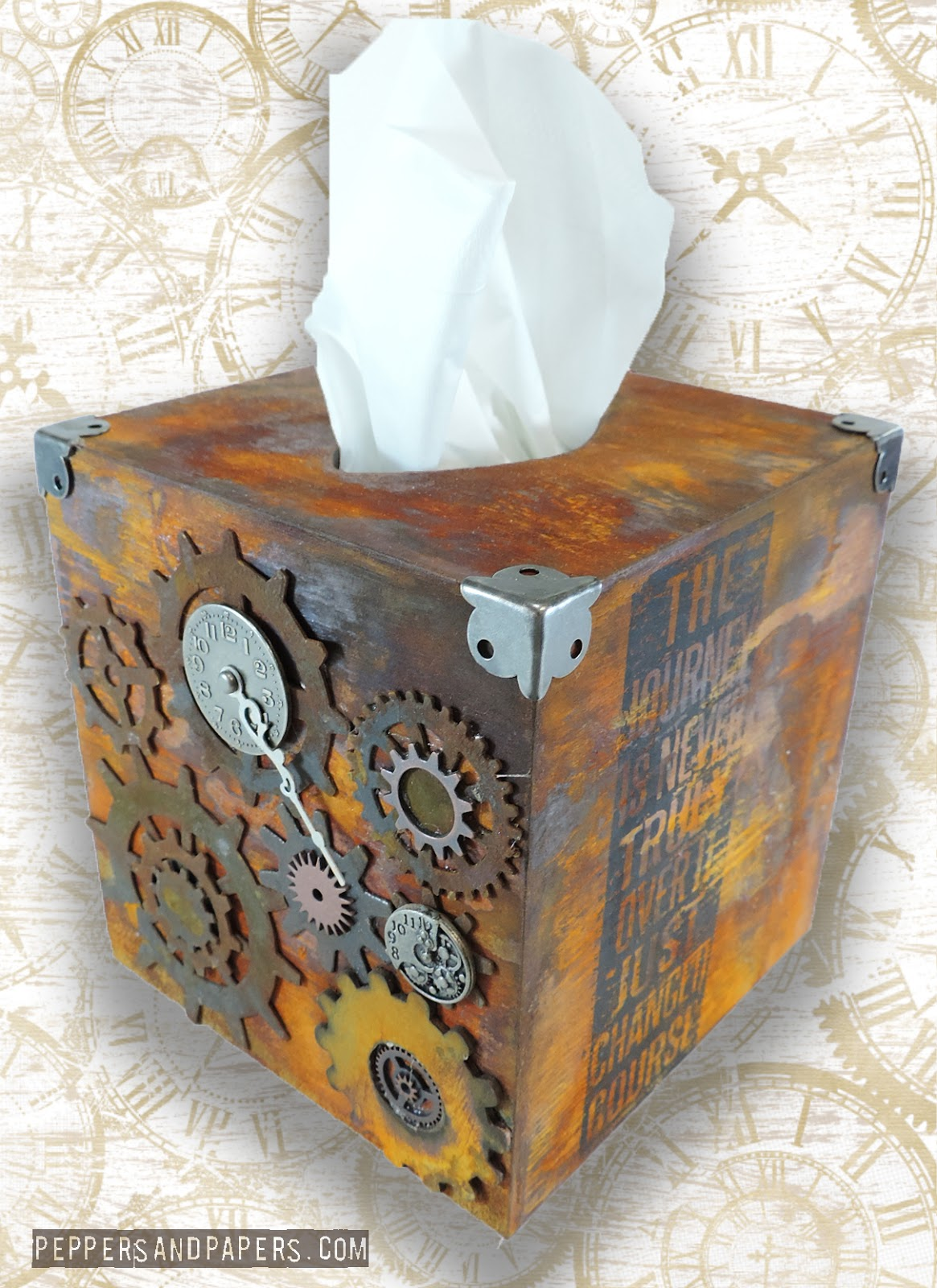 peppers papers steampunk tissue box