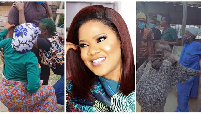 Shey your Kneel no dey pain You- Fans reacts as Toyin Abraham kneels for elders (Video)