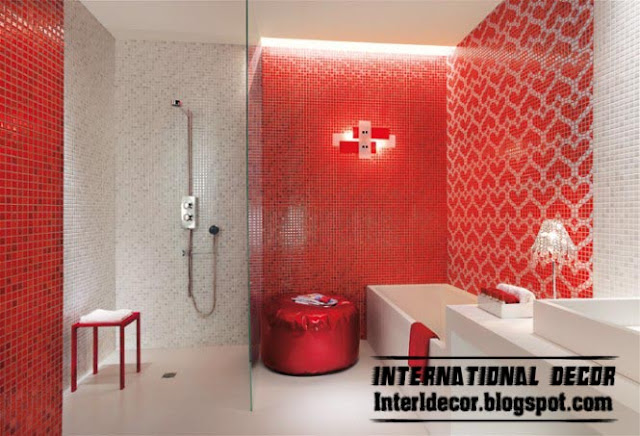 Red And White Mosaic Tiles Romantic Design For Modern Bathroom