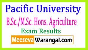 Pacific University B.Sc./M.Sc. Hons. Agriculture  Ist Sem Dec-2016 Exam Results
