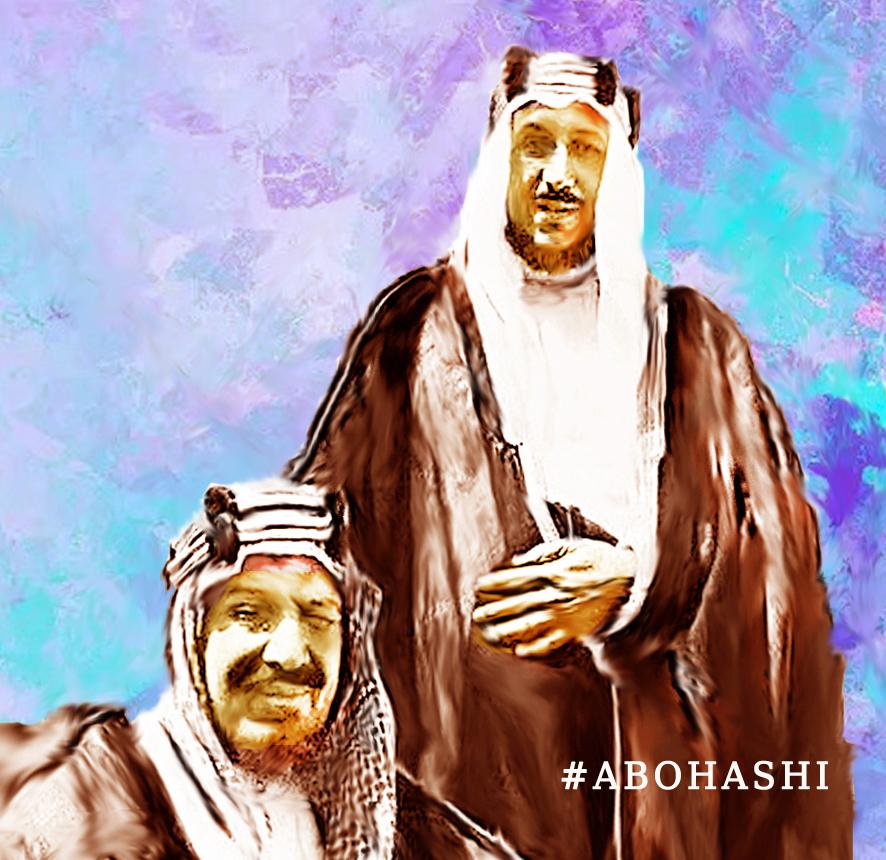 الملك عبد العزيز آل سعود وأبنه الأكبر الملك سعود بن عبد العزيز  #abohashi