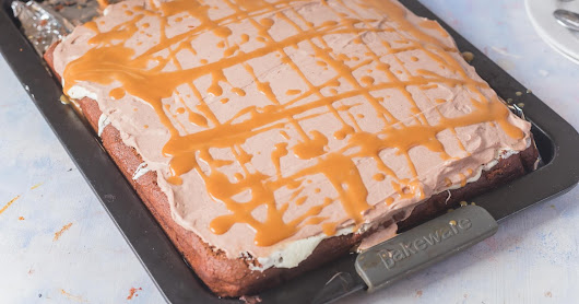Eggless Chocolate Sheet cake with Chocolate cream frosting and Caramel drizzle