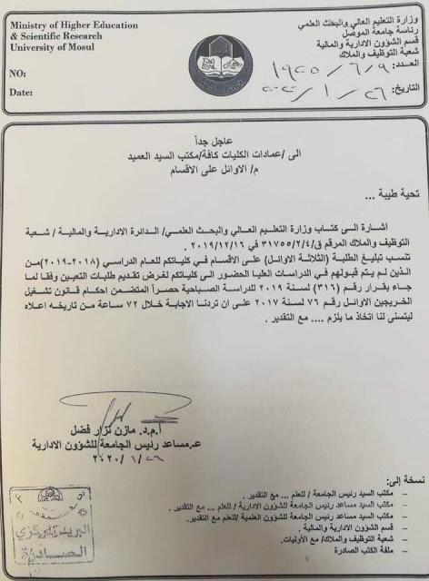 تنفيذ قرار تشغيل الثلاثة الاوائل على الأقسام في هذه الجامعات العراقية؟