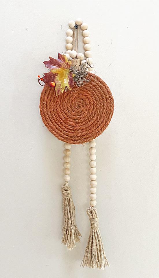 jute pumpkin and beaded garland
