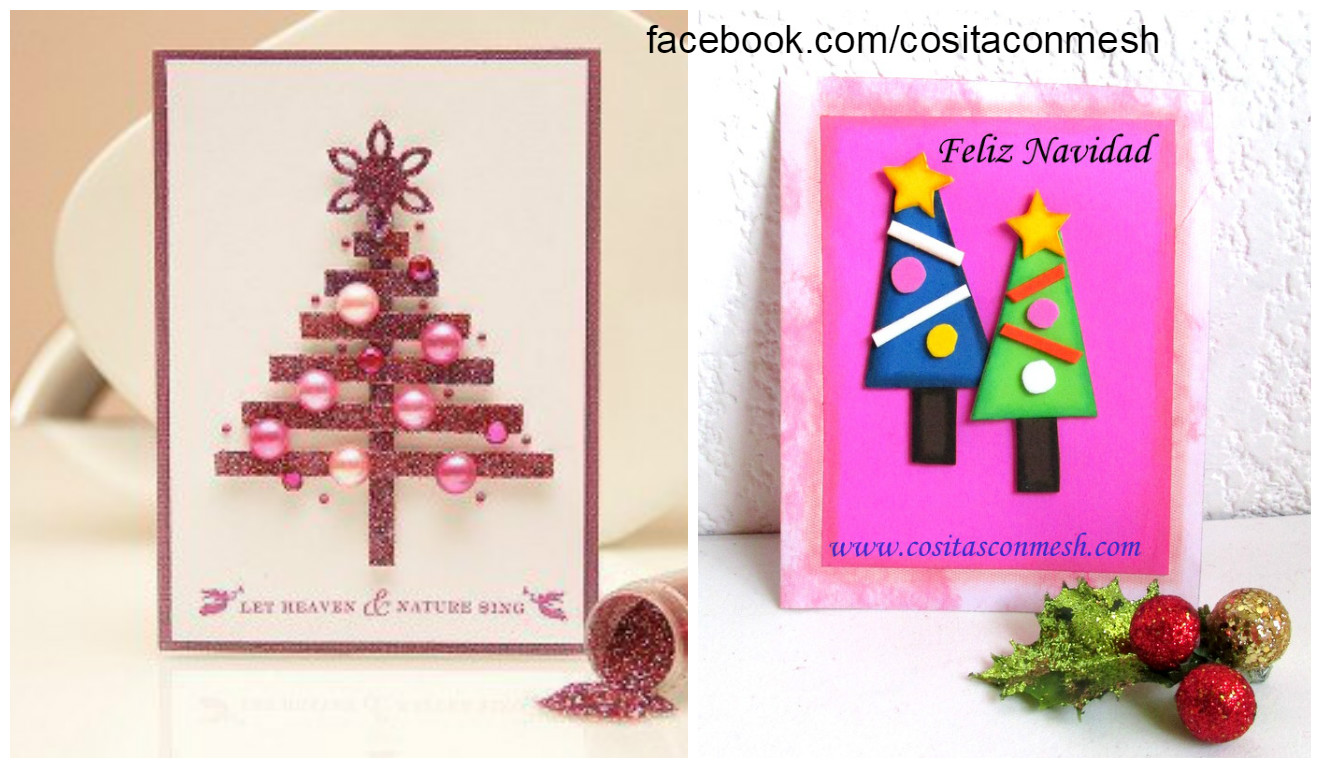 Como Hacer Una Tarjeta Navidena Con Arbolitos En Foami Cositasconmesh - Manualidades-de-tarjetas-navideas