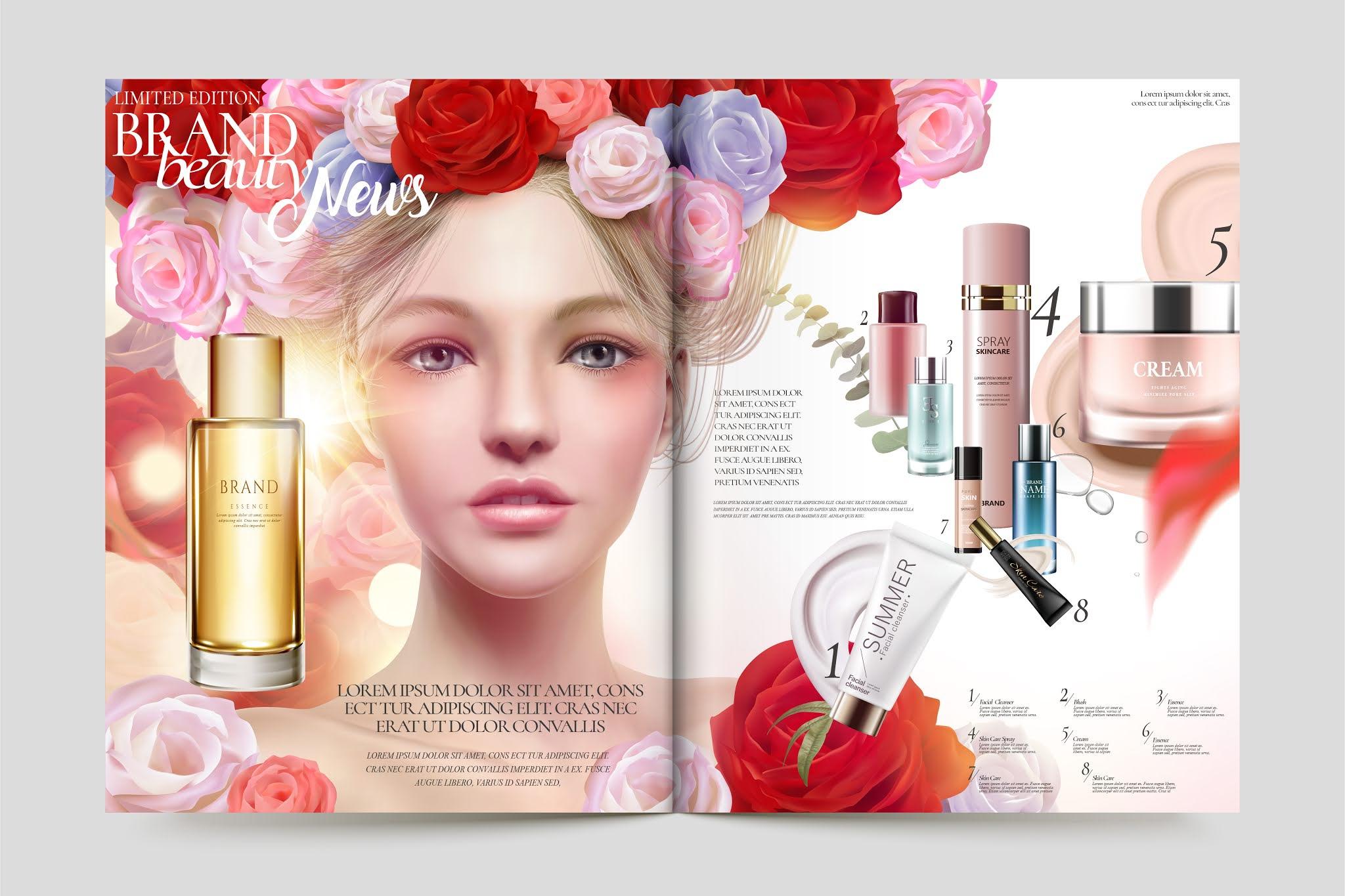 تحميل تصميم مجلة خاصة بمنتجات التجميل بصيغة فيكتور وايضا تستطيع تحولها ملف فوتوشوب