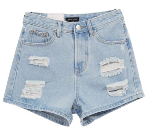Destroyed High Waist Denim Shorts