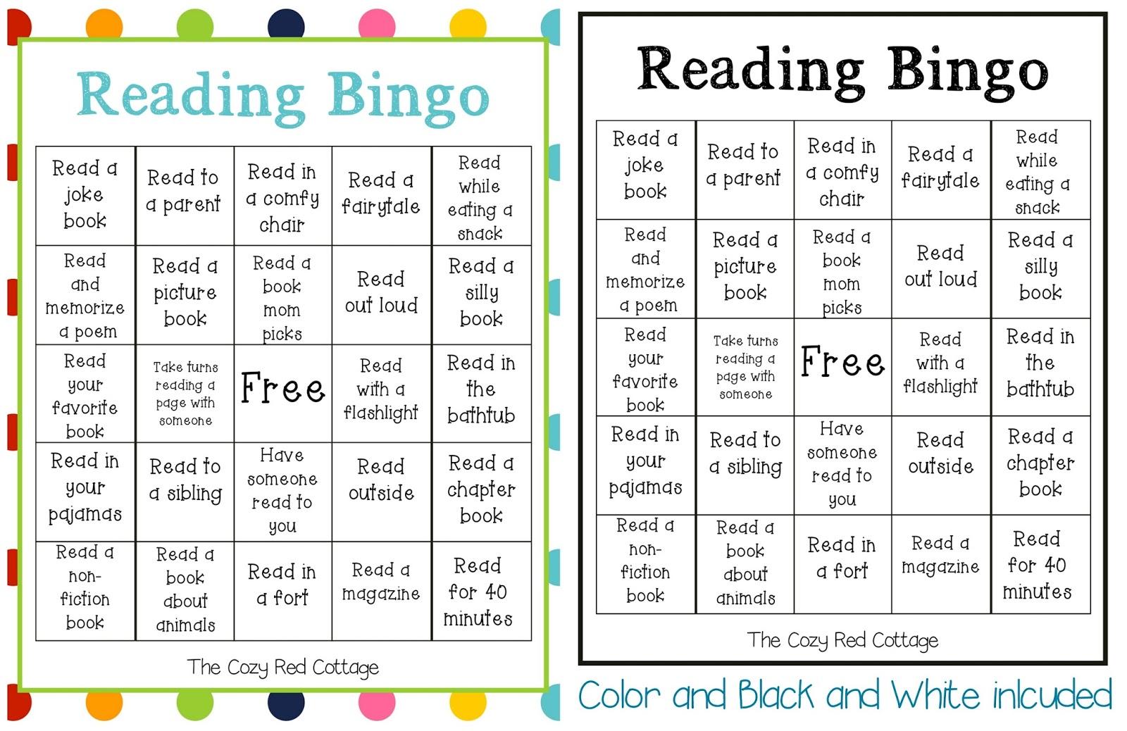 The Cozy Red Cottage Reading Bingo Free Printable