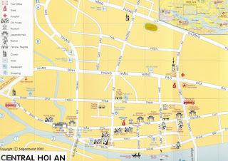 Mapa turístico de Hoi An (Hoian). Vietnam