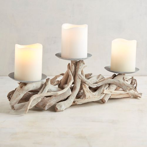 Gray Washed Driftwood Candle Holder