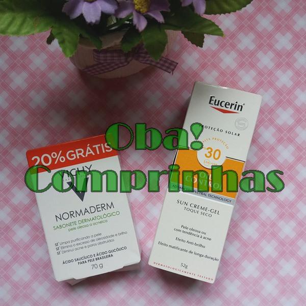 Comprinhas-de-farmácia-para-pele-Sabonete-Normaderm-Vichy-protetor-solar-Oil-control-fps-30-Eurecin