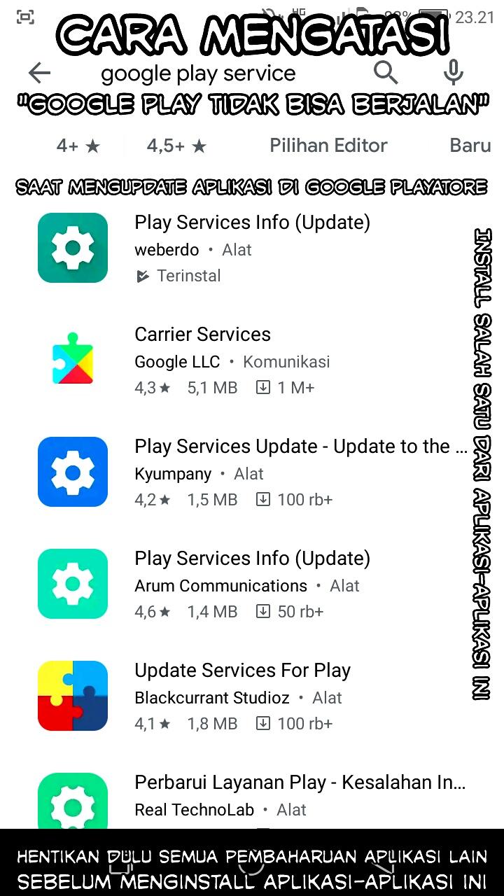 """Cara Mudah Mengatasi : """"Google Play tidak bisa berjalan"""" saat memperbaharui aplikasi android."""