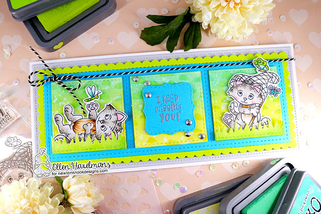 Missing You cat and butterflies card by Ellen Haxelmans | Captivated Kittens Stamp Set, Land Borders Die Set and Slimline Die Sets by Newton's Nook Designs #newtonsnook
