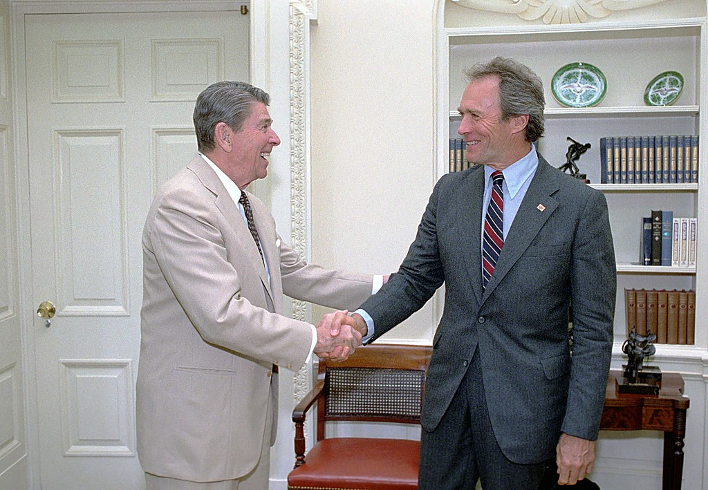 Eastwood (right) with Ronald Reagan in July 1987