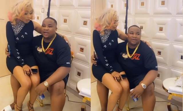 Mercy Eke Spotted Chilling On Cubana Chiefpriest's Laps As They Reconcile