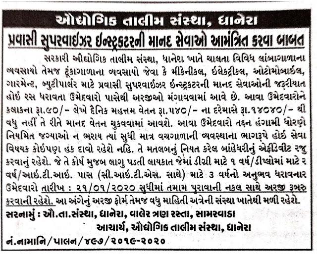 ITI Dhanera Recruitment for Pravasi Supervisor Instructor Posts 2019