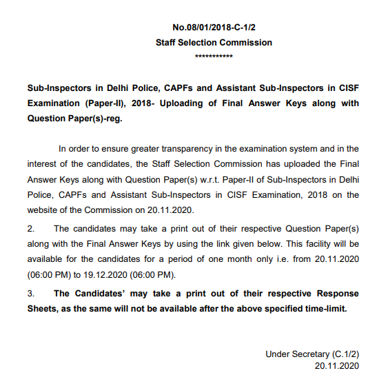 Sub-Inspector in Delhi Police, CAPFs and Assistant Sub-Inspectors in CISF Examination (Paper-II), 2018 - Uploading of Final Answer Key(s) along with Question Paper(s)