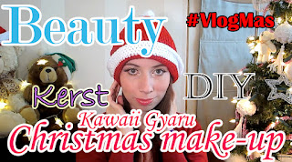 girl with gyaru makeup wearing a santa hat