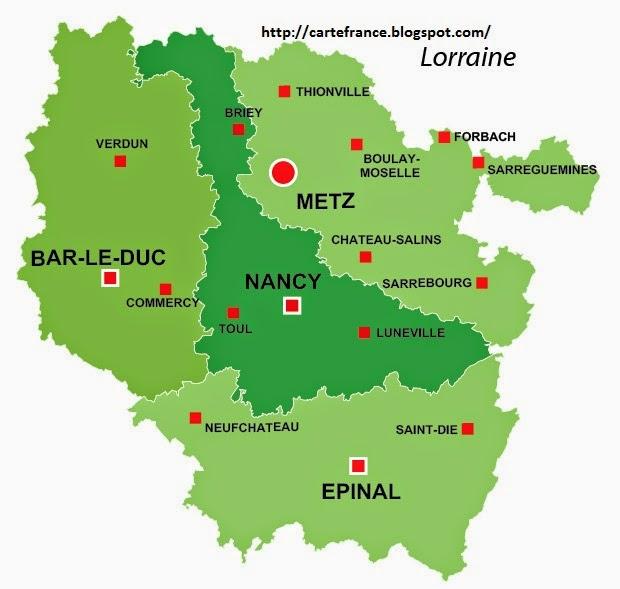 Carte Lorraine Departement | Carte France Département Région