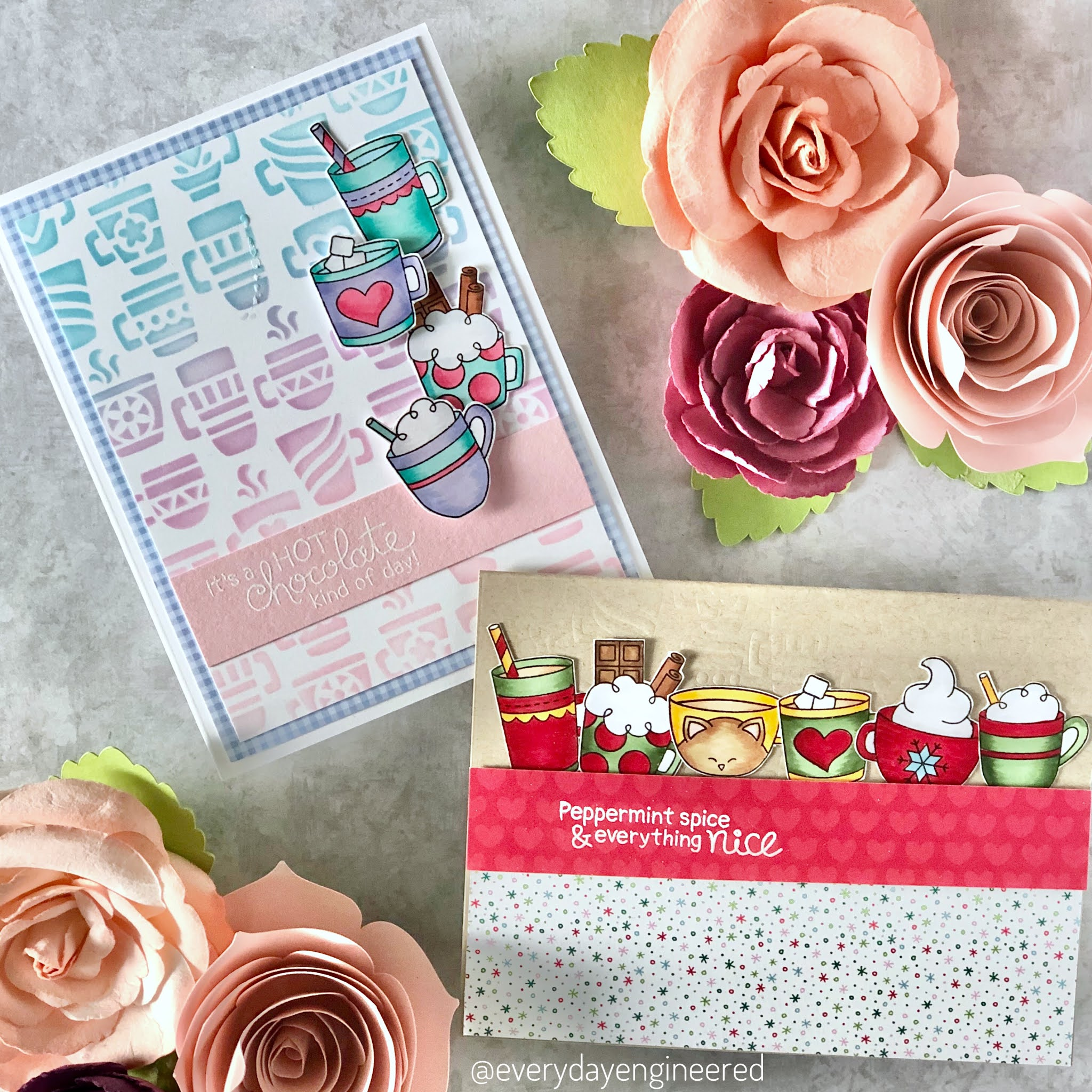 Warm Winter Cocoa Wishes Cards by October Guest Designer Farhana | Cup of Cocoa Stamp Set and Mugs Stencil by Newton's Nook Designs #newtonsnook
