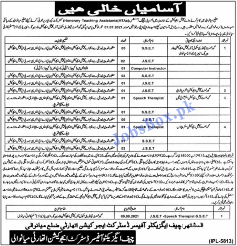 Special Education Department Mianwali Jobs 2021 in Pakistan -  Latest Special Education Department Jobs 2021