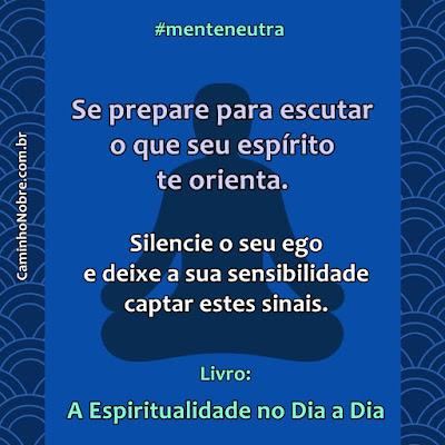 Se prepare para escutar o que seu espírito te orienta. Silencie o seu ego e deixe sua sensibilidade captar estes sinais. Livro A Espiritualidade no Dia a Dia