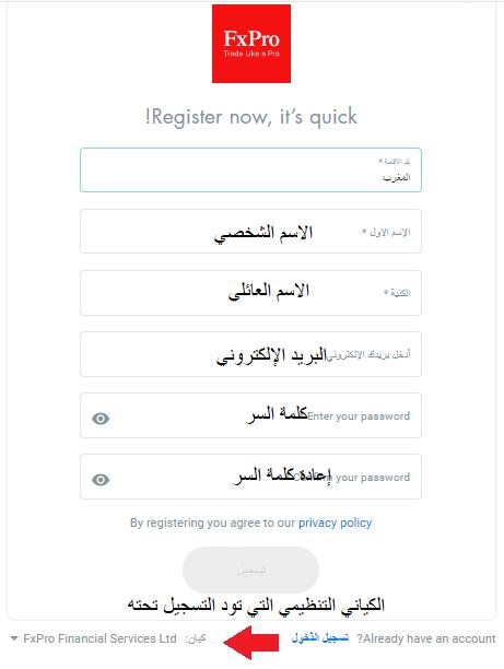 فتح حساب اسلامي FxPro