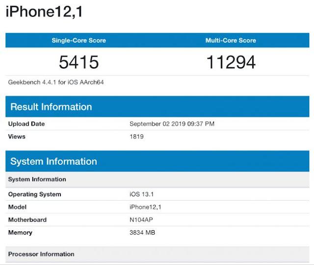 تسريب نتائج اختبار أداء هاتف iPhone XI على منصة benchmark