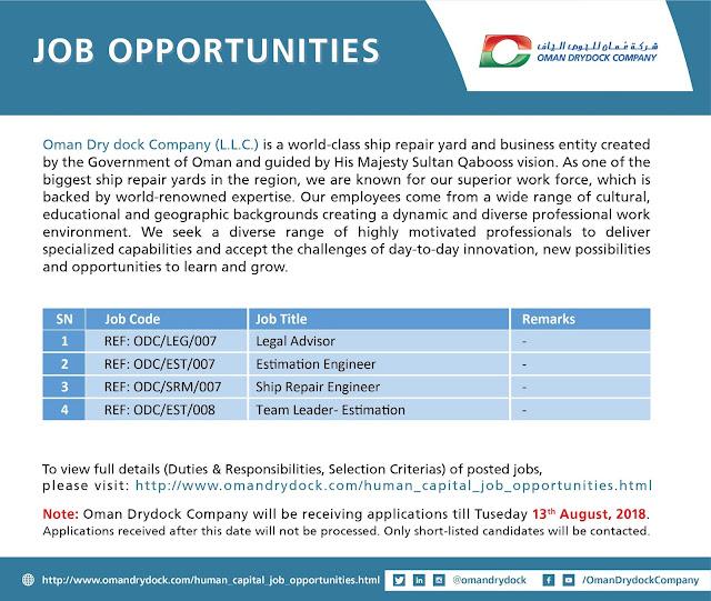 Job opportunities at Oman Drydock in Duqm