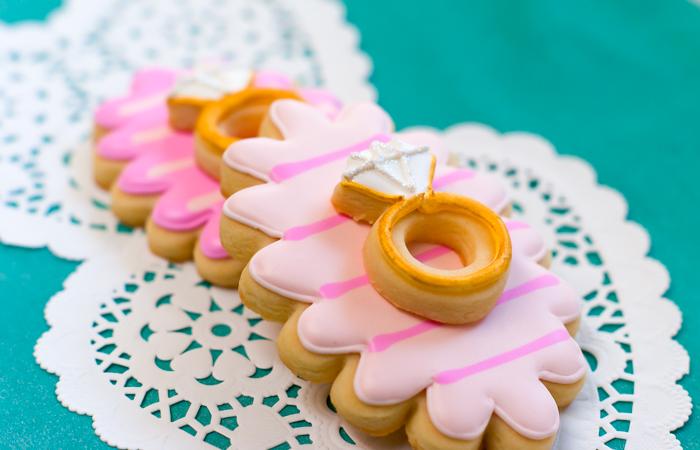 double-decker decorated wedding cookies