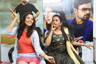 Actress Suma in Black Salwar Suit and Anusuya in orange Dress at winner movie press meet part 2 February 2017 (87).JPG