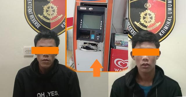 Dua Pemuda Nekat  Bobol ATM Alfamart Sekotong