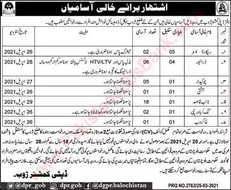 New Jobs in Pakistan Deputy Commissioner Office Zhob Jobs 2021