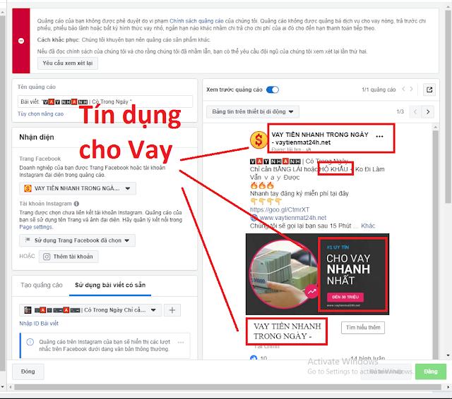 Lỗi dùng từ liên quan đến kinh tế, tài chính trong quảng cáo Facebook Marketing