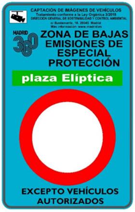 Mapa de calles afectadas por la Zona de Bajas Emisiones Plaza Elíptica