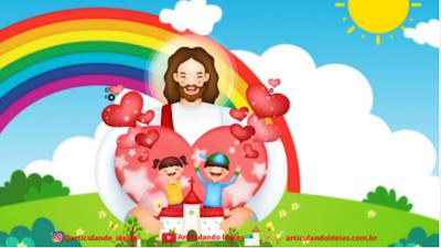 Jesus e aa crianças felizes dentro de um coração