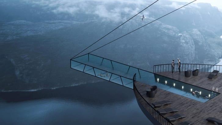 Phối cảnh thiết kế hồ bơi vô cực treo vách đá