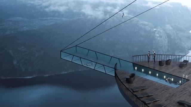 Đáng sợ với thiết kế hồ bơi vô cực treo vách đá