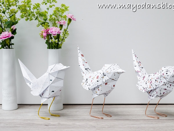 DIY Papiervögel im Terrazzo-Look falten