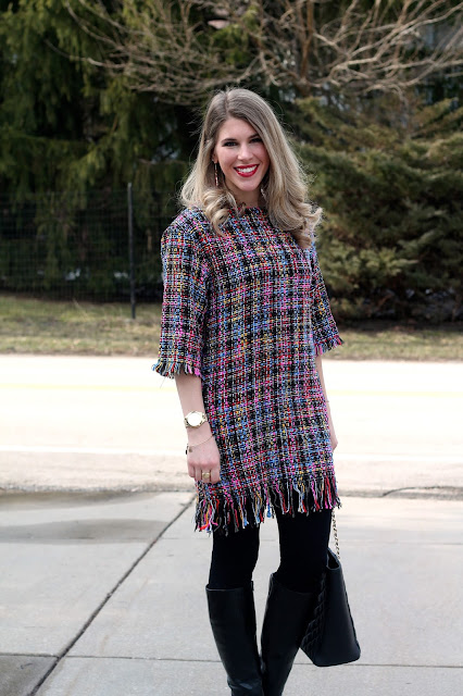 multi-colored boucle dress, leggings, heeled boots, Greg Michaels tote