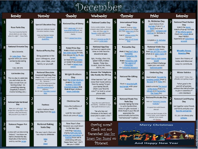 Academic ideas for each day in December with link pairings
