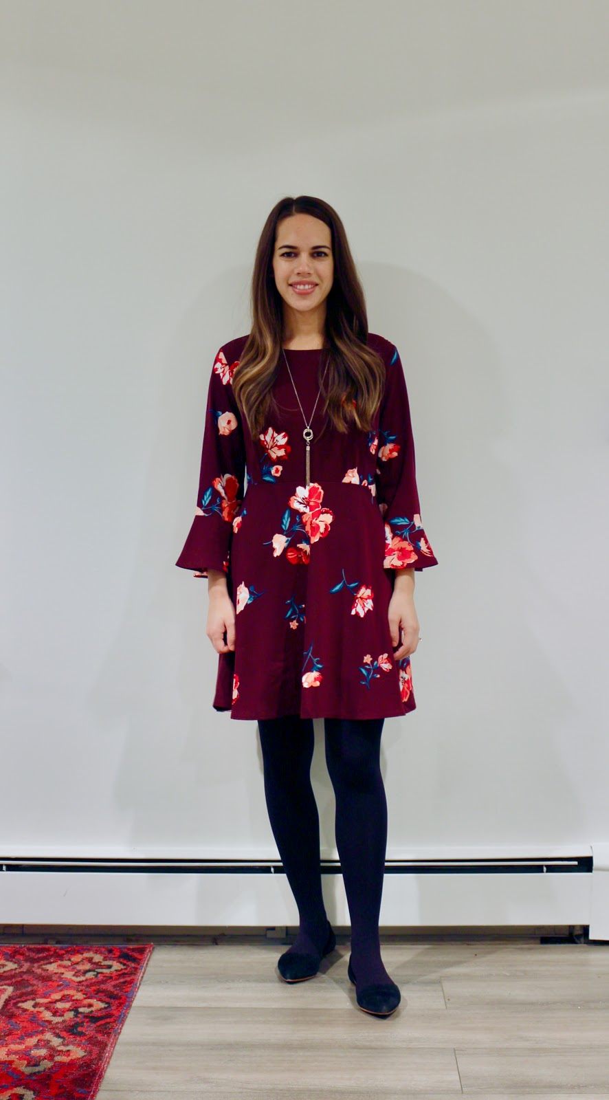 Jules in Flats - Burgundy Floral Fit & Flare Dress (Business Casual Fall Workwear on a Budget)